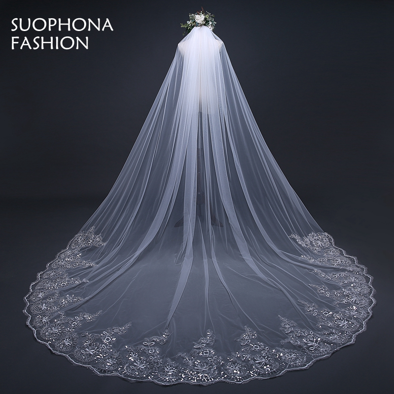 3 Meter White Ivory Cathedral Wedding Veils Long Lace Edge
