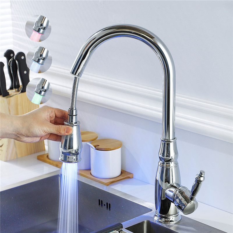 LED Pull Out Kitchen Faucet 360 Degree Rotation Chrome Brass Tap Water Faucets Solid Brass Sink Tap Water Mixer Led Sink FaucetLED Pull Out Kitchen Faucet 360 Degree Rotation Chrome Brass Tap Water Faucets Solid Brass Sink Tap Water Mixer Led Sink Faucet