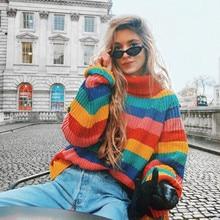 58719736d8 Kenancy Women Rainbow Stripe Turtleneck Autumn Winter Warm Knit Jumpers  Full Sleeve