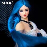 1/6 масштаб азиатской красоты OB27 девушка бледно кожа синий коса волос Глава Sculpt W длинный синий коса бледно тон подходит 12 ''PH seemless тела