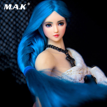 1/6 Scale Asian Beauty OB27 Girl Pale Skin Blue Braid Hair Head Sculpt W Long Blue Braid pale tone Fit 12'' PH seemless Body