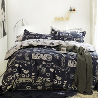 100 Cotton Cartoon Printed Love King Queen Duvet Cover Set With 1 Fitted Sheet And 2