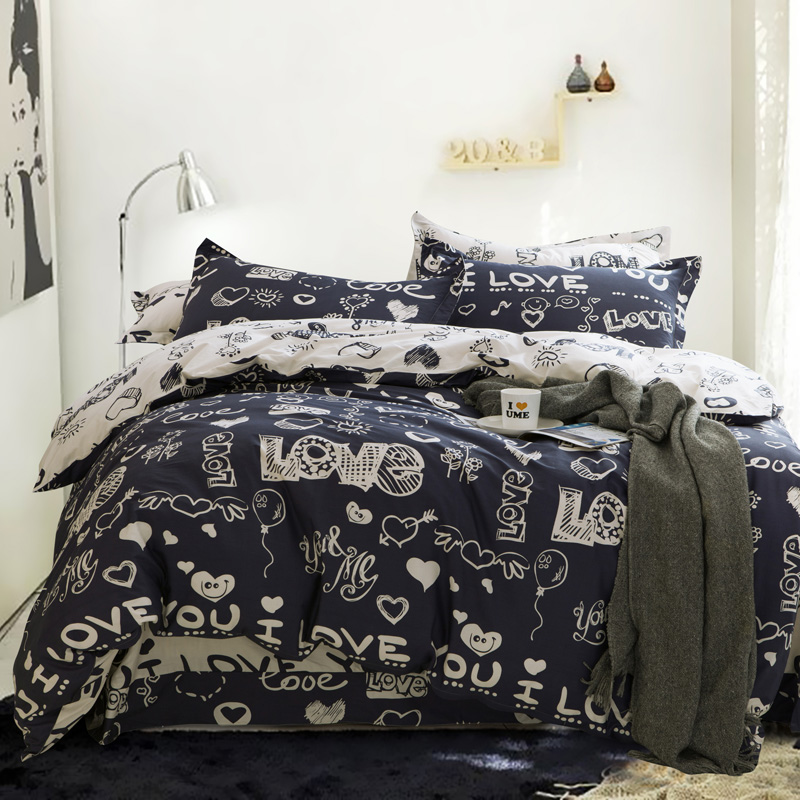 100% coton Cartoon imprimé amour roi reine housse de couette ensemble avec 1 drap housse et 2 taies d'oreiller
