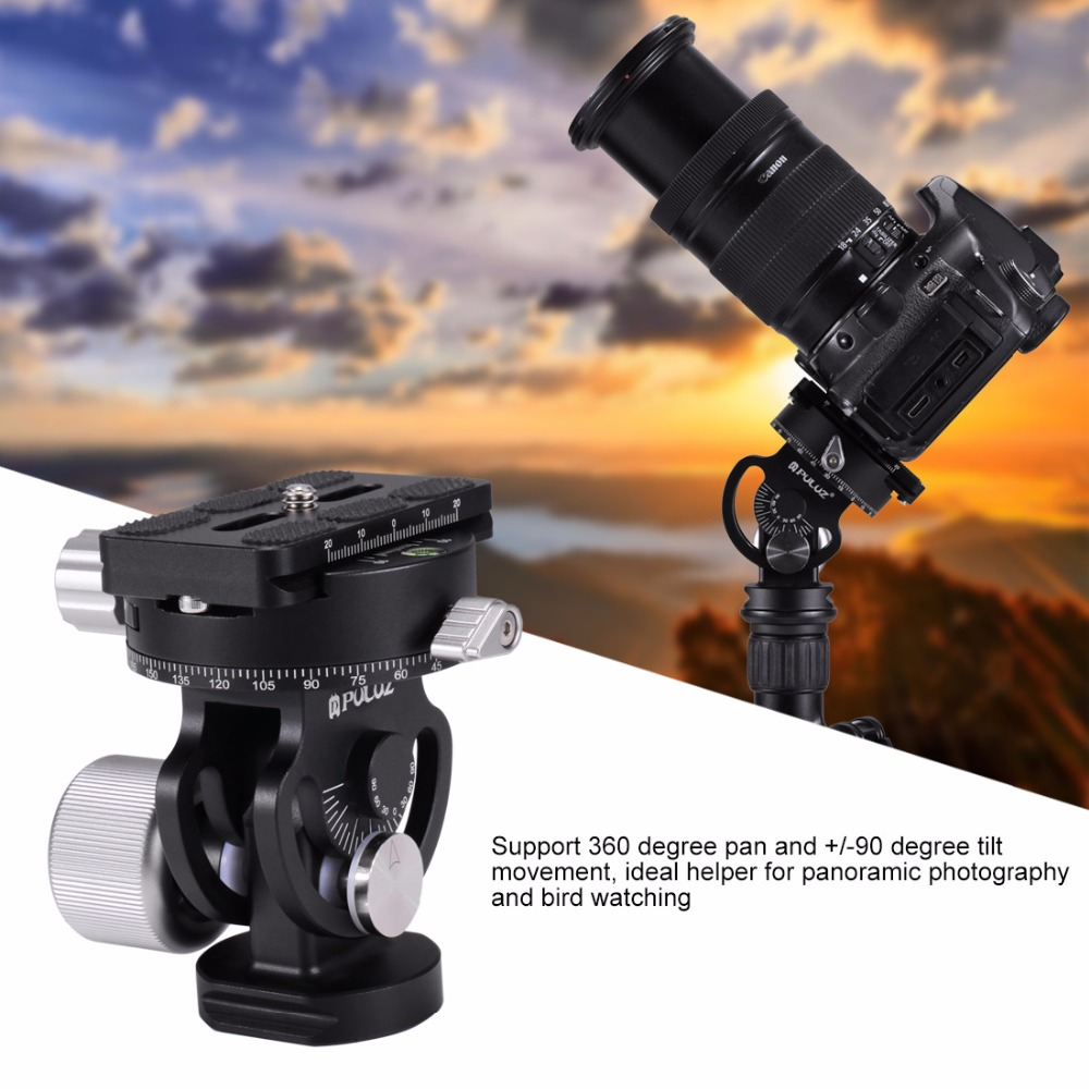 Camera 2-Way Pan//Tilt Tripod Head Panoramic Photography Head with Quick Release Plate /& 3 Bubble Level