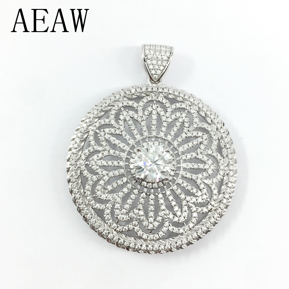 AEAW Solid 14K 585 White Gold DF Color Moissanite Solitaire Pendant Necklace for Women