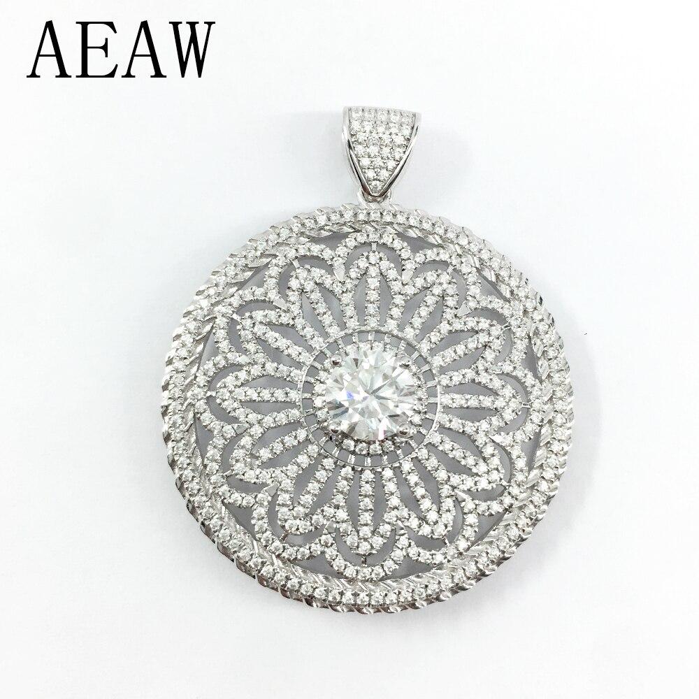 AEAW Solide 14 k 585 Blanc Or DF Couleur Moissanite Solitaire Pendentif Collier pour les Femmes