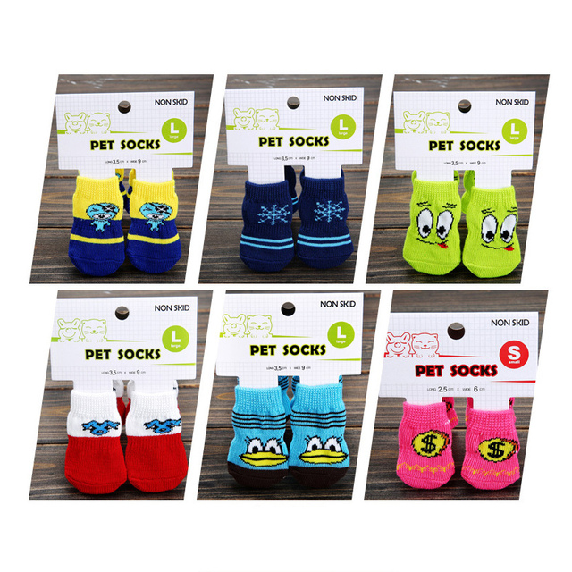 4 PCS/set Small Pet Dog Doggy Shoes Lovely Soft Warm Cotton Socks Clothes Apparels For S-M  Dress up Pet Grooming Accessories