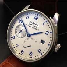 43mm parnis gaviota Automatic Power Reserve Hombres Reloj Azul Reloj Silver Case Reloj de Mano