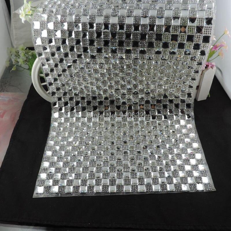 1 Piece High Quality Size 24*40cm <font><b>Square</b></font> Glass & A Grade Crystals Rhinestones Beads Hot Fix Iron on Heat Transfer Ribbon Garment