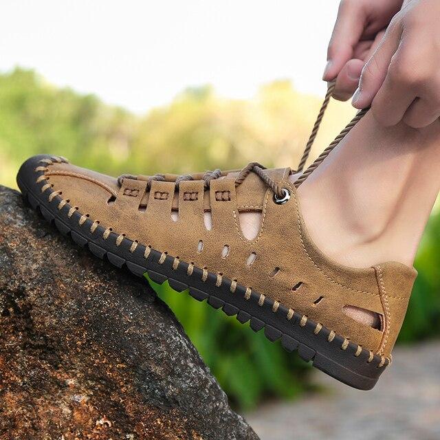 1f58be373e 2019 neue Sommer Männer Aus Echtem Leder Sandalen Business Casual Schuhe  Männer Im Freien Strand Sandalen Römischen Männer Sommer Wasser Schuhe  Größe 48