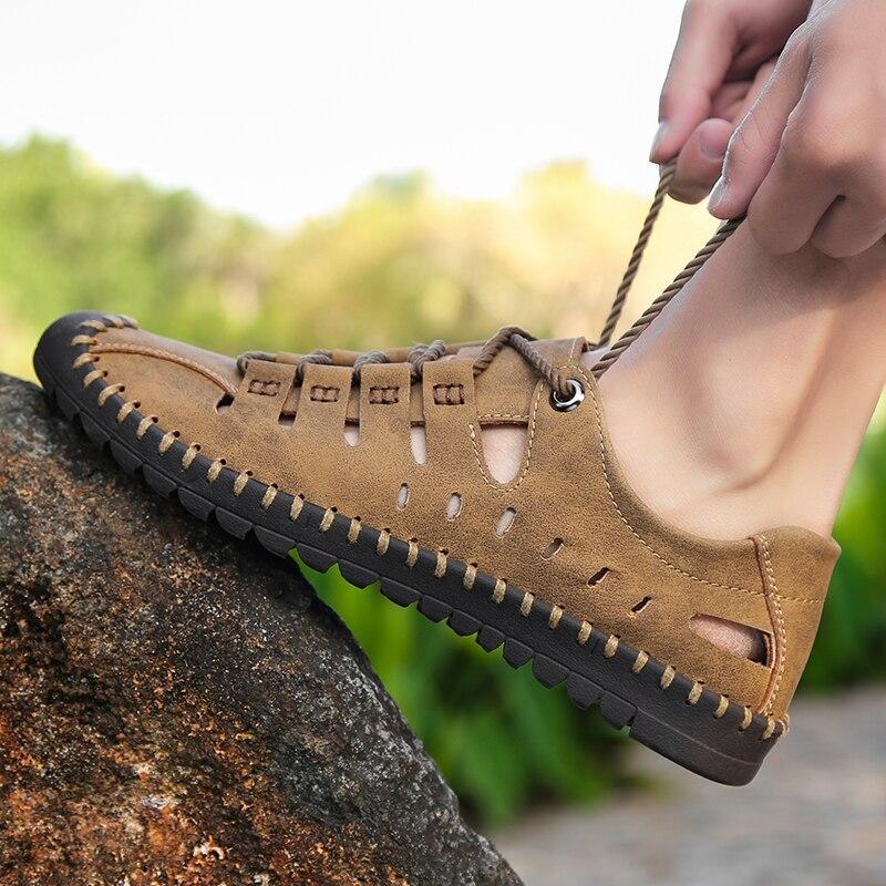 2019 nuevas sandalias de cuero genuino para hombres de verano Zapatos casuales de negocios para hombres sandalias de playa al aire libre zapatos de agua romanos para hombres de verano talla 48