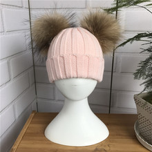 Baby Winter Beanie Hat with Two Raccoon Fur Pom Pom Winter Wool Blend Knit Stripe Cap Double Natural Fur Bobble Ball Kids Hat
