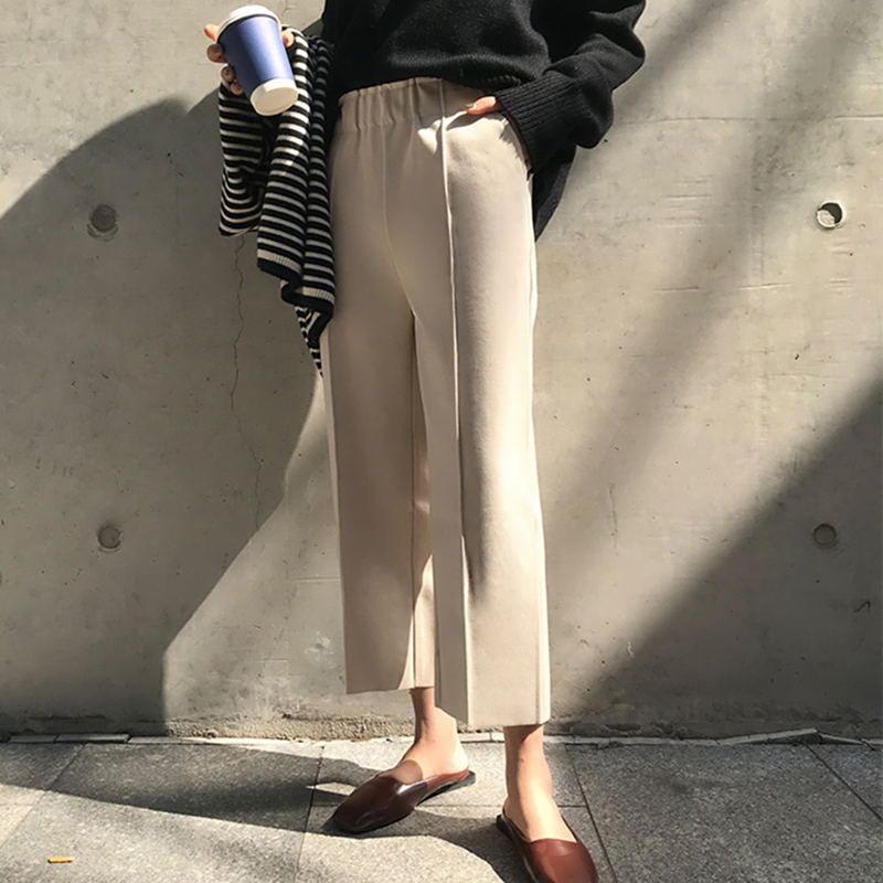 2018 Winter Women Woolen   Pants   Elastic Waist Fashion Solid Thick Wool   Wide     Leg     Pant   Femme Fall Loose Casual Trousers Plus Size