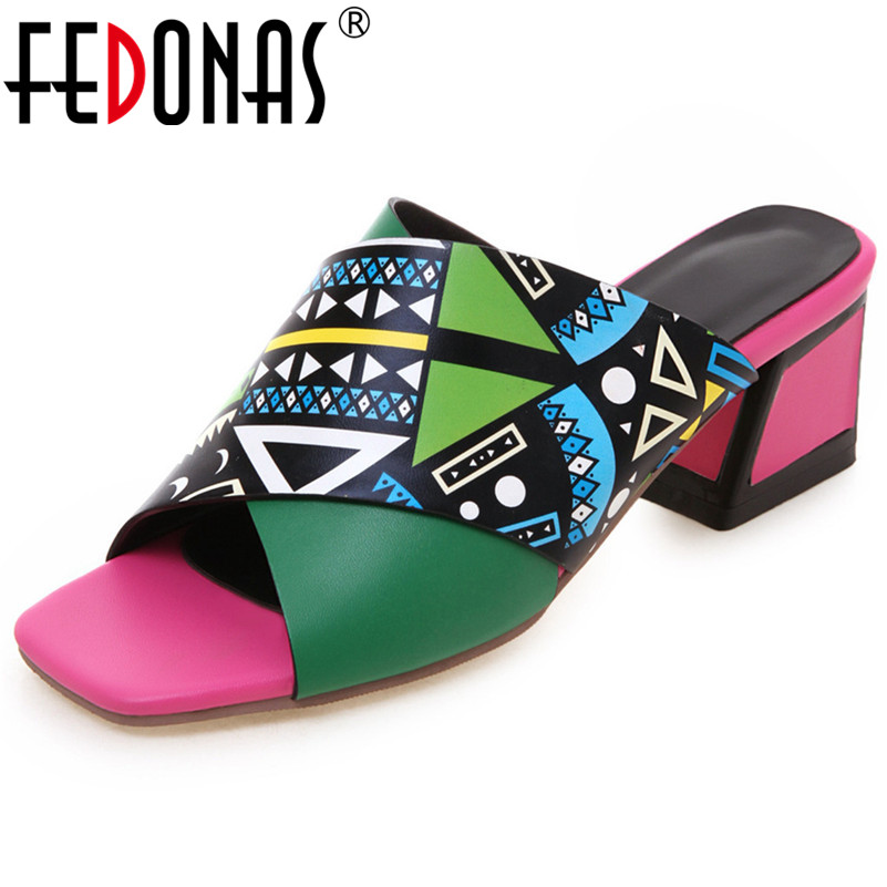 FEDONAS 2019 Summer New Fashion Print Square Toe Square Heels Women Sandals Pu Leather Pumps Sexy Elegant Casual Shoes Woman