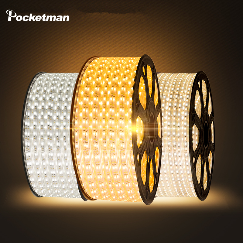LED Strip Flexible light 60leds/m Waterproof led light SMD 5050 AC 220V +Power Plug 1M/2M/3M/4M/5M/6M/7M/8M/9M/10M/15M/20M ZK50