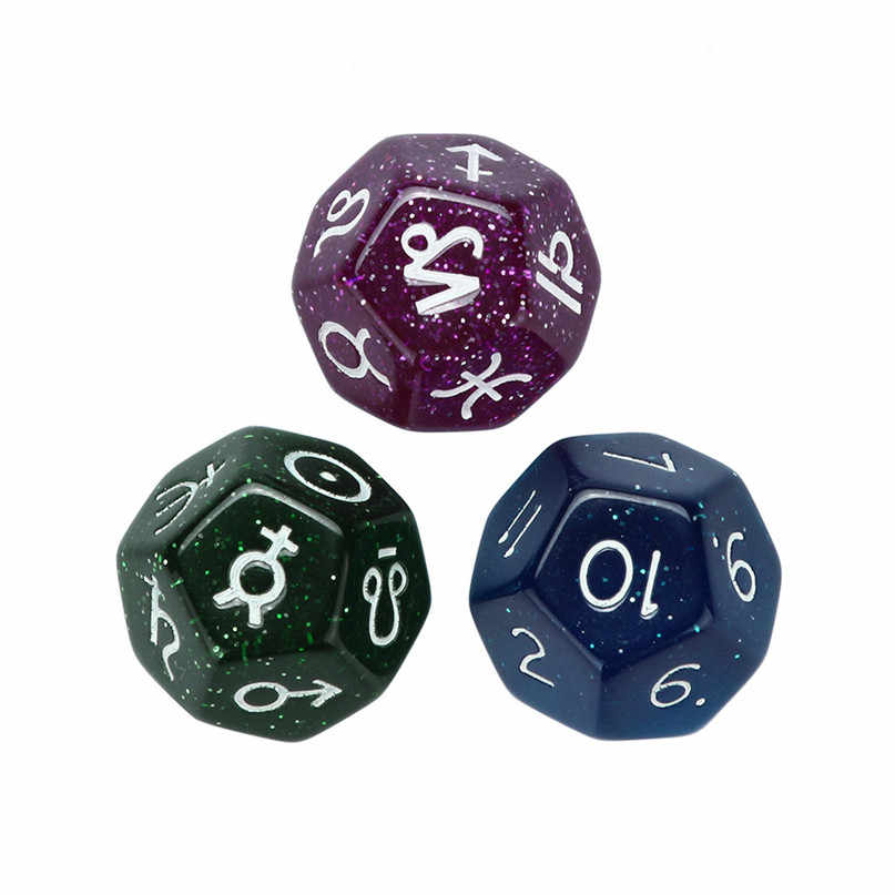 Onstellation 3 pc Game Dungeons & Dragons Dice para Amantes Do Jogo TRPG Constelação Poliédrico D4-D20 Multi Faces Acrílico Dice # 2N