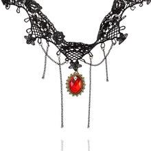 Women's Black Lace Dangle Link Chain Bead Flower Chokers Necklace bisuteria boho joyeria Gift Jewelry