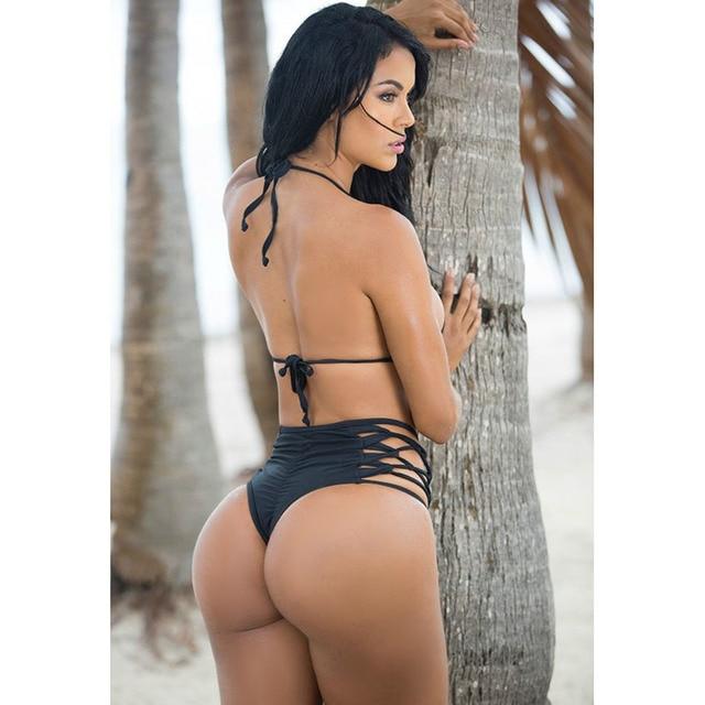 b1ffb767f44 Sexy Women Top Bra Micro Bikini Set Cut Out Caged Swimwear High Waisted  Bandage Bathing Suits ...