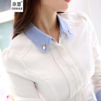 Women Blouse Female Cotton Shirts Women S Work Wear Office Shirt 2015 New Fashion Long Sleeve