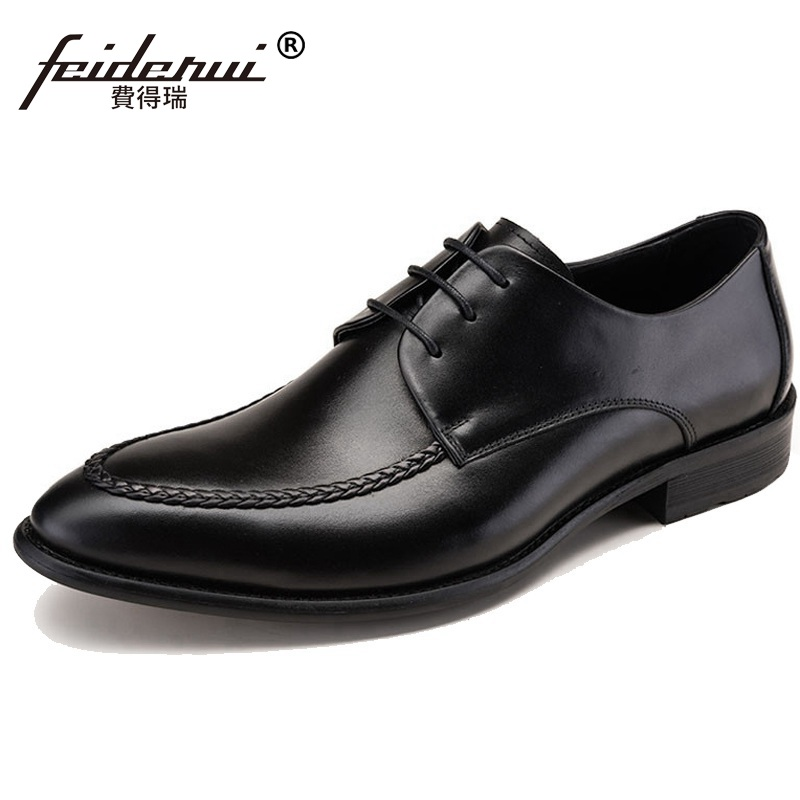 New Arrival Pointed Toe Handmade Man Formal Dress Party Shoes Genuine Leather Derby Wedding Oxfords Men's Bridal Flats QC36 ruimosi new arrival formal man bridal dress flats shoes genuine leather male oxfords brand round toe derby men s footwear vk94