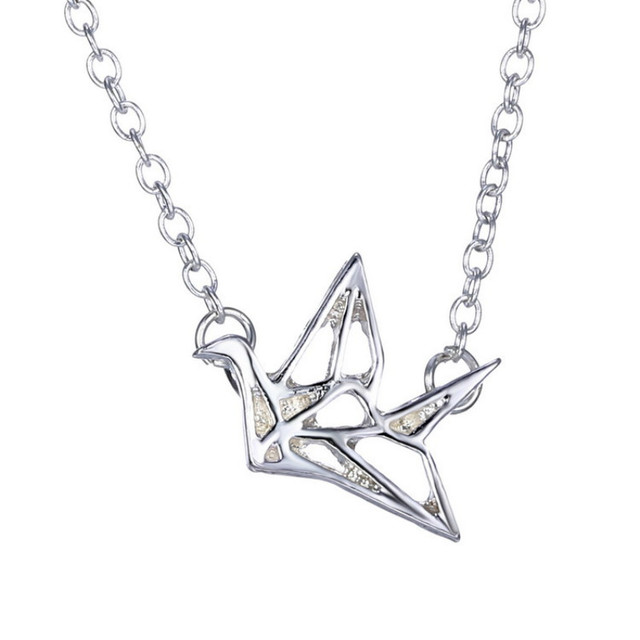 Brand jewelry stainless steel origami paper crane pendants brand jewelry stainless steel origami paper crane pendants necklace for women best friend gift summer jewelry mozeypictures Choice Image