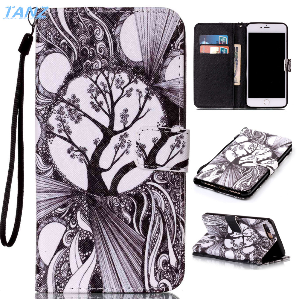 TANZ Stand Flip Magnetic Wallet Back Cover Leather flower Paiting Soft Case For iphone 5 6 6plus 6Splus 7 7plus mobile phone bag