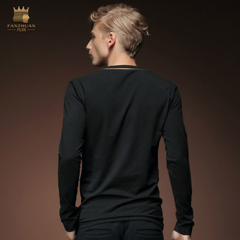 Spring autumn men fall bamboo fiber black long sleeved V shirt collar slim casual T-shirt