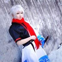 אנימה GINTAMA סקאטה Gintoki Cosplay תלבושות מעיל ומכנסיים מעיל לבן + שחור + החגורה + חגורה + משלוח חינם G