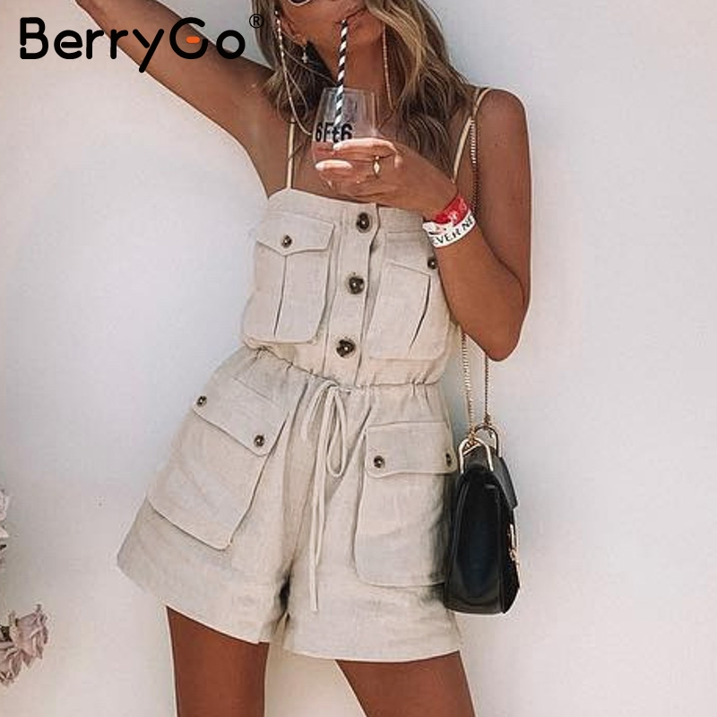BerryGo strap women jumpsuit  summer romper Pockets lace up button short female jumpsuit Vintage loose overall solid jumpsuit