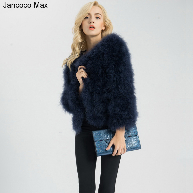 Jancoco Max S1002 Women Real Fur Coat Genuine Ostrich Feather Fur Winter Jacket Retail