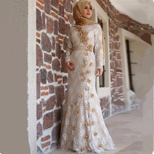 Elegant Champagne Lace Muslim Evening Dress Long Sleeve Flowers Mermaid Prom Party Formal Gown Hijab Islamic
