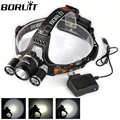 High Power Head Lamp 4 Mode 6000lm rechargeable led Headlamp 3x XM-LT6 LED Headlight for Camping with charger