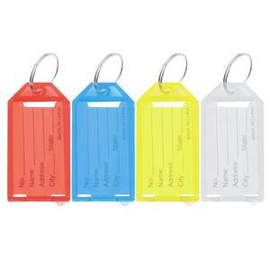 4 colors Plastic Key Tags Key Rings ID Identity Tags Rack Name Card Label NEW Four Colors Available 1 pc