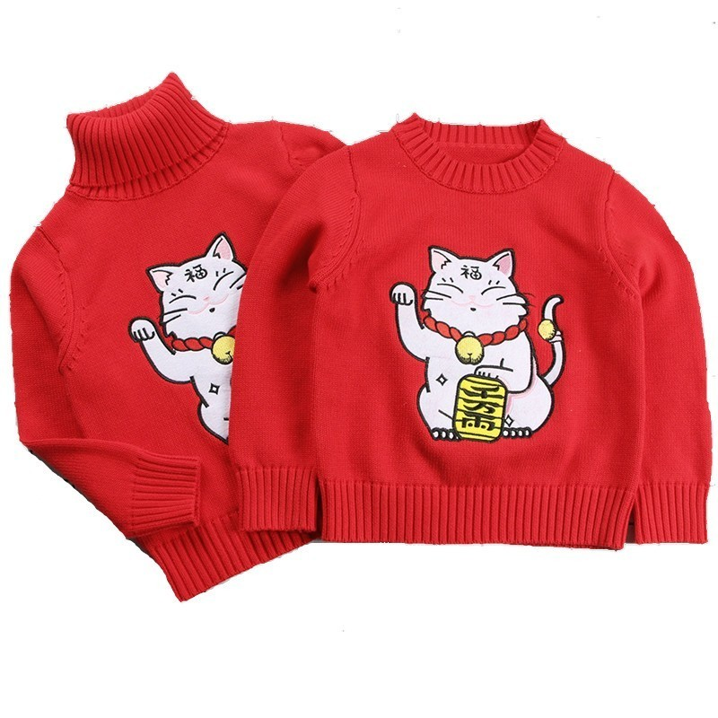 Autumn Winter Family Matching Thicken Lucky Cat Sweater Mother Boys Girls Clothes Outfits Long Sleeve Turtleneck Warm Kintwear