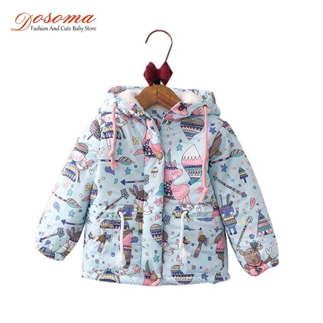 768d62723342 New Winter Kids Jackets For Girls Coats Graffiti Parkas Hooded Baby ...