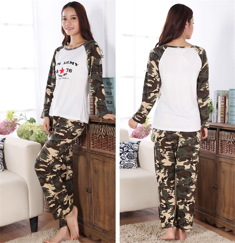 New Novelty Camouflage Letter Women Sleepwear Military Uniform Pajama Sets  Casual Home Leisure Night Wear 100% Cotton Plus Size-in Pajama Sets from ... 83ef81547