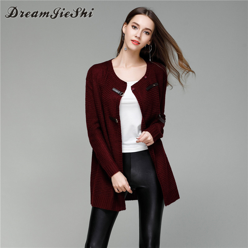 Dreamjieshi 2017 Autumn Winter Fashion Solid Color Knitted Women Cardigans Sweaters Medi ...