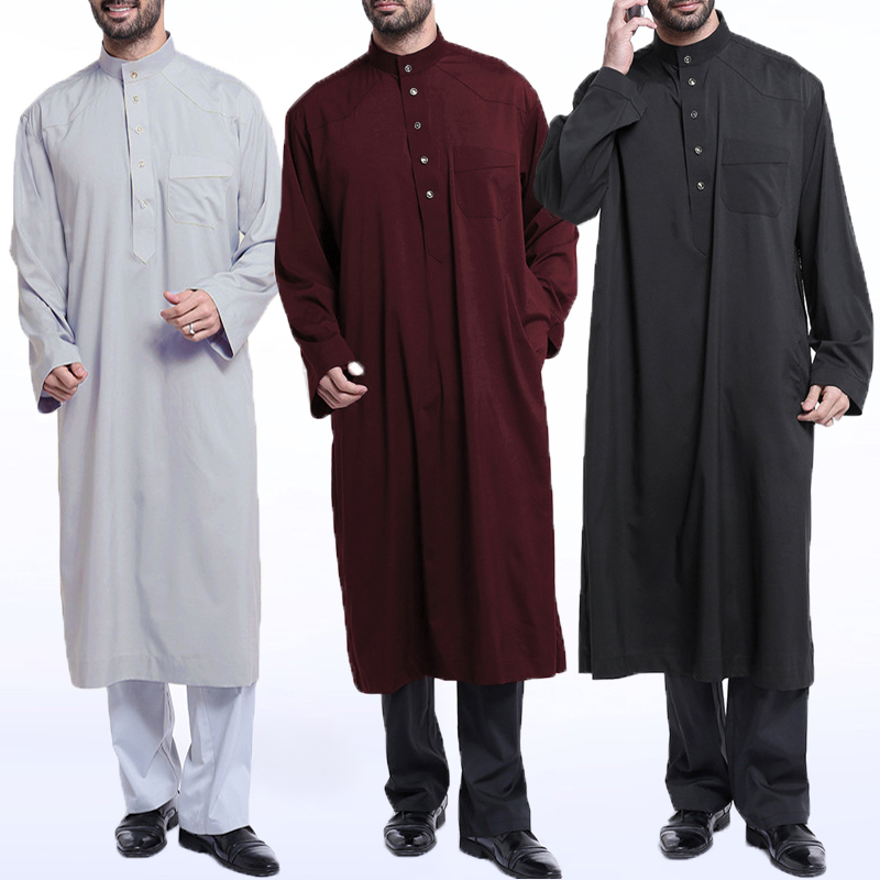 INCERUN Mens Muslim Saudi Arabic Thobe Kaftan Dress Robe Long Sleeve Jubba Thobe Men Saudi Arab Muslim Islamic Clothing 5XL 2019