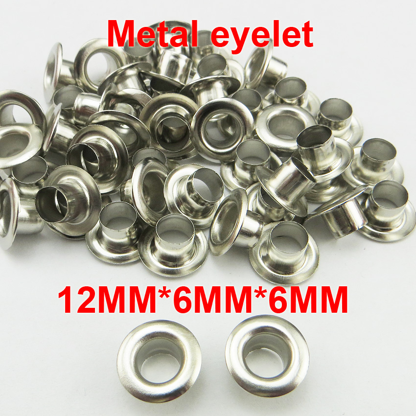 200pcs 12*6*6mm METAL silver eyelet round button BRAND clothes accessory leather bag sho ...