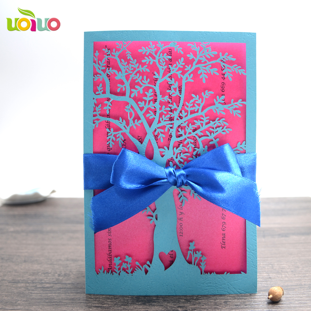 Wedding Invitations Business: 10pcs Lake Blue Tree Business/Party/Birthday Laser Wedding