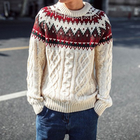 Warm Christmas Male Crewneck Sweater Jumper Top Cable Knit Sweater Men Pullover Jersey Hombre Loose Clothes Men Fashions 40MY021