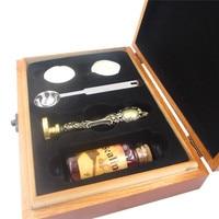 DIY Personalized Custom Sealing Wax Brass Stamp Bottle Spoon Gift Wooden Box Set Wax Seal Retro