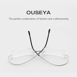 Image 3 - Titanium Mens Rimless Glasses Frame Women Transparent Eyeglasses Optical Myopia Business Clear Spectacle Frame Fashion #CT001