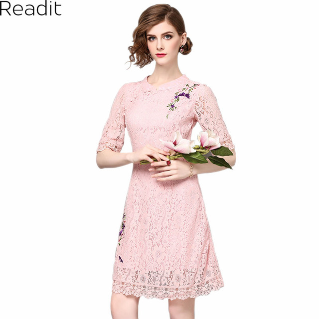 Readit frauen emboridery spitze dress vintage elegante kleid oansatz ...