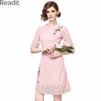 Readit vrouwen emboridery kant dress vintage elegant gown o-hals half mouw roze feestjurken vrouwen zomer dress 2017 d2221