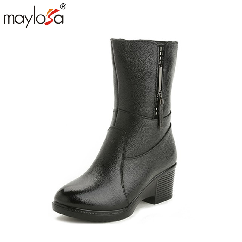 MAYLOSA Women Winter Shoes Genuine Leather Women Winter Boots spring autumn Wool Women Warmful High Quality Knee High Boots maylosa summer spring women boots with hole genuine leather feminina casual boots good quality handmade casual lady shoes