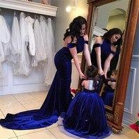 Exquisite Royal Blue Halter Velvet Flower Girl Dress 2016 Pageant Dresses For Little Girls Glitz Vestido