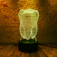 New Fantastic Illusion Tooth 3D Led Night Light Colorful Baby Bedroom Atmosphere Touch Table Cool Lamp Dentist Office Decor