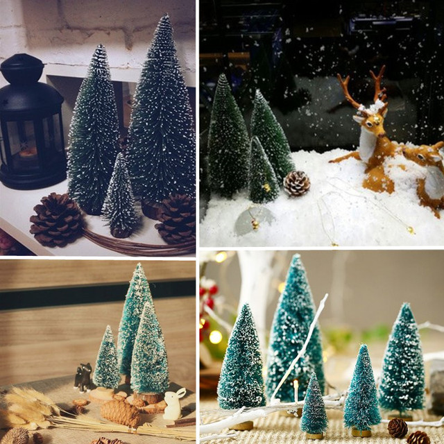 1pcs mini christmas tree small pine tree ornaments figurines miniatures christmas decorations home office diy decoration - Miniature Christmas Decorations