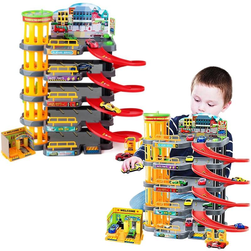 Nouveau 4-histoire rail de voiture parking lot jouet multi-couche rail modèle de voiture grand enfants de jouet ensemble garçon de course de voiture cadeau jouets